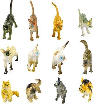 Larcele 12 Clases Simulado Mini Animal Modelo de Plástico Gato Figuras de Juguete para Niños FZM-01 (Gato): Amazon.es: Juguetes y juegos