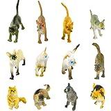 Larcele 12 Clases Simulado Mini Animal Modelo de Plástico Gato Figuras de Juguete para Niños FZM