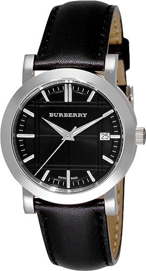 Burberry Hombres Unisex mujeres reloj patrimonio Swiss lujo redondo negro de acero inoxidable FECHA Dial Negro Cuero Banda 38 mm BU1354: Amazon.es: Relojes