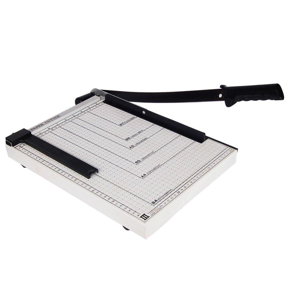 GHP 15'' Maximum Cutting Size 12-Sheet Capacity Desktop Paper Cutter with Rubber Feet