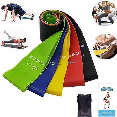 XDSP Bandas Elasticas Fitness - de Resistencia 5 Cintas Bandas de Resistencia para Entrenar Glúteos Yoga, Movilidad Recuperación, Estiramientos, ...