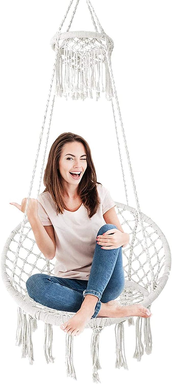 HBIAO HammocksHanging Hammock Chair, Macrame Swing Chair, Boho Handmade Tassels Hanging Chair, Prefect for Indoor/Outdoor, Cute Room Decor for Teen Girls Aesthetic