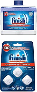 Finish Dual Action Dishwasher Cleaner: Fight Grease & Limescale, Fresh, 8.45oz and Finish in-Wash Dishwasher Cleaner: Clean Hidden Grease & Grime, 3ct