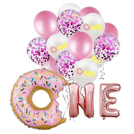 Meigold Donut - Globo de látex para decoración de fiestas de cumpleaños para niñas y mujeres, niños y adultos Package B 4
