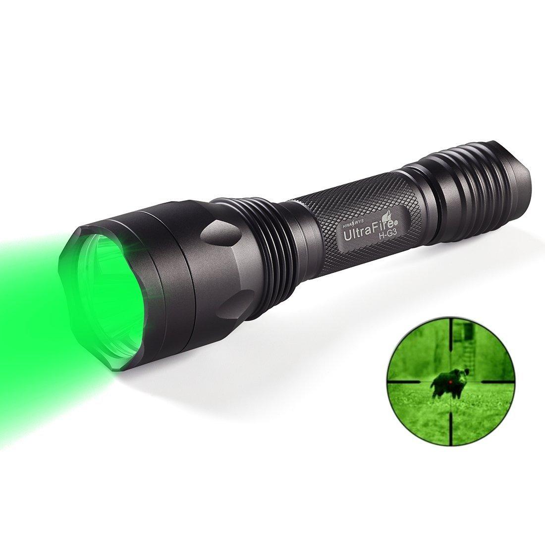 Lampe torche LED Green Light Lampe torche tactique H-g3 Franche, 650 lm. La chasse, Torch, 520– 535 nm Longueur d'onde, professionnel Vert LED puissante lampe de poche é tanche lampe de poche 650lm. La chasse Anekim