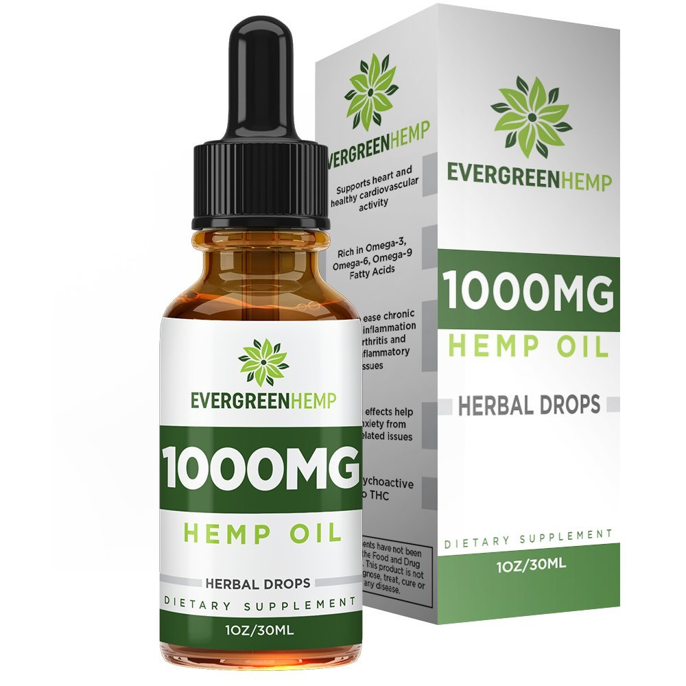 Hemp Oil Drops :: 1000MG per Bottle :: Premium Organic Extract :: Promotes Healthy Sleep :: Natural Anti-Anxiety :: One Month Supply (1FL oz) :: Evergreen Hemp