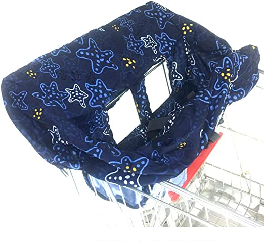 Safety Harness Machine Washable for Twins Boys Girls Blue Baby Shopping Cart Seat High Chair Protector Toddler Seat Cover Plush Seat Pad