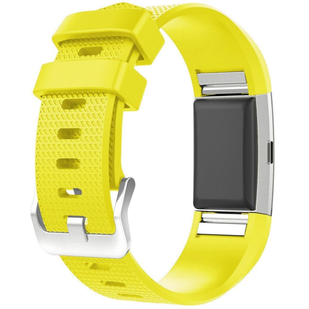 AloneA新しいファッションスポーツシリコンブレスレットストラップバンドfor Fitbit Charge 2 イエロー イエロー B01MF5P5DO