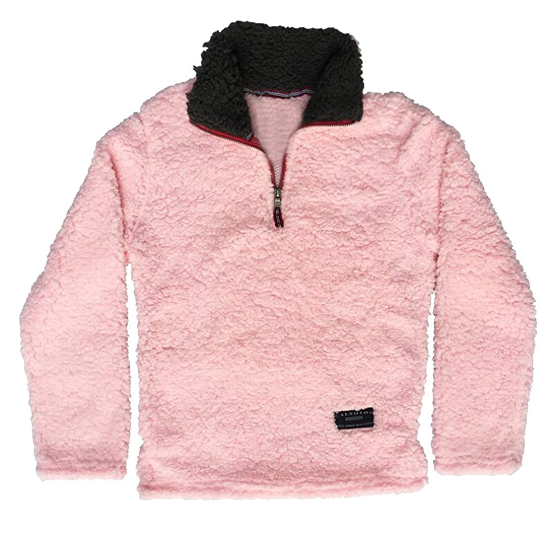 Hadudu Womens Zipper Faux Lambwool Long Sleeve Plus Size Pullover Sweatshirt Top Blouse