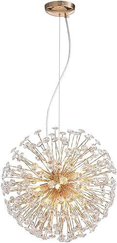 NOXARTE Dandelion Crystal Chandelier Gold Firework Pendant Light Modern Sputnik Hanging Lighting Fixture