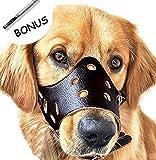 Dog Muzzle Leather, Adjustable Anti-biting Dog Leather Muzzle, Breathable Safety Pet Puppy Muzzles