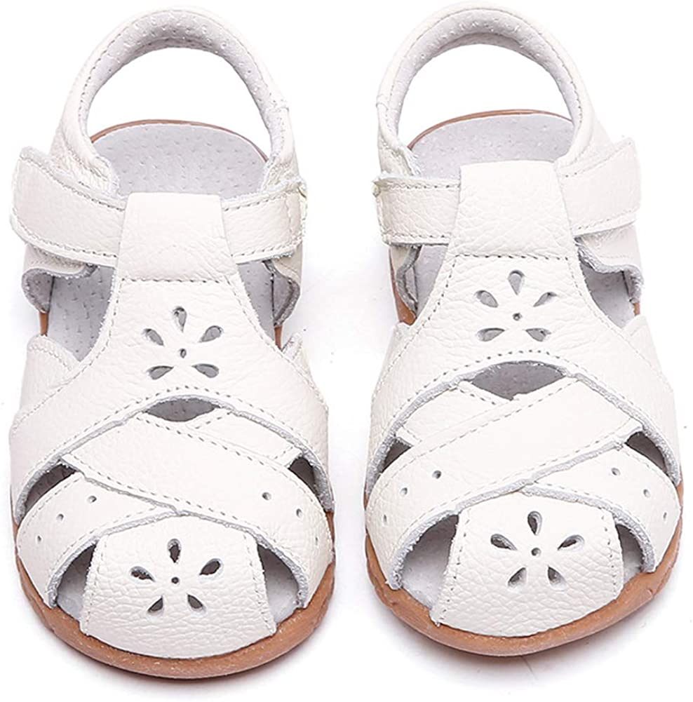 Girls Round Closed Toe White Sandal Rubber Sole Summer Flat