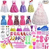 #1: SOTOGO 85 Pcs Barbie Doll Clothes Set Include 10 Pack Barbie Clothes Party Grown Outfits(Color Random) And 75 Pcs Different Barbie Doll Accessories For Little Girl