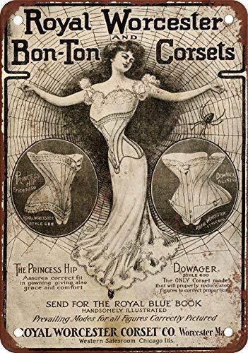 1902 Royal Worcester corsés, diseño clásico de reproducción Tin Sign - Placa de Metal 30 x 40 cm ()