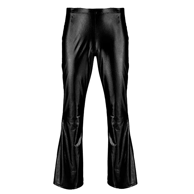 7d9618f6dd6bb TiaoBug Adult Men s Shiny Metallic Flares Costume for 70 s Disco Pop Rock  Bell Bottom Long Pants Trousers  Amazon.co.uk  Clothing