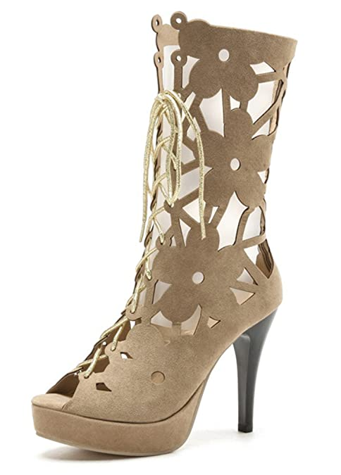 a464eae7b Vitalo Women s Strappy Lace Up High Heel Platform Peep Toe Caged Gladiator  Sandal Size 4 B