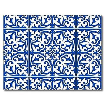 Oliyneco Tapis Imitation Carrelage Marocain En Caoutchouc - Faience cuisine et grand tapis caoutchouc