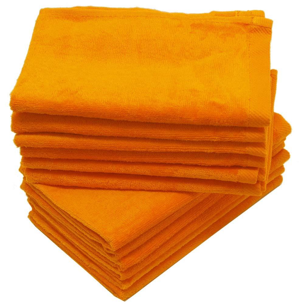 Georgiabags 3-Pack Terry Velour Hand Towels 100% Cotton, 11''x18'', Hemmed Fingertip Towel, Sport Towel Terry Velour Hemmed Towels (3, ORANGE)