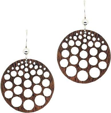 Wooden Earrings Pineapple by dears Sustainably Sourced Walnut Wood Earrings