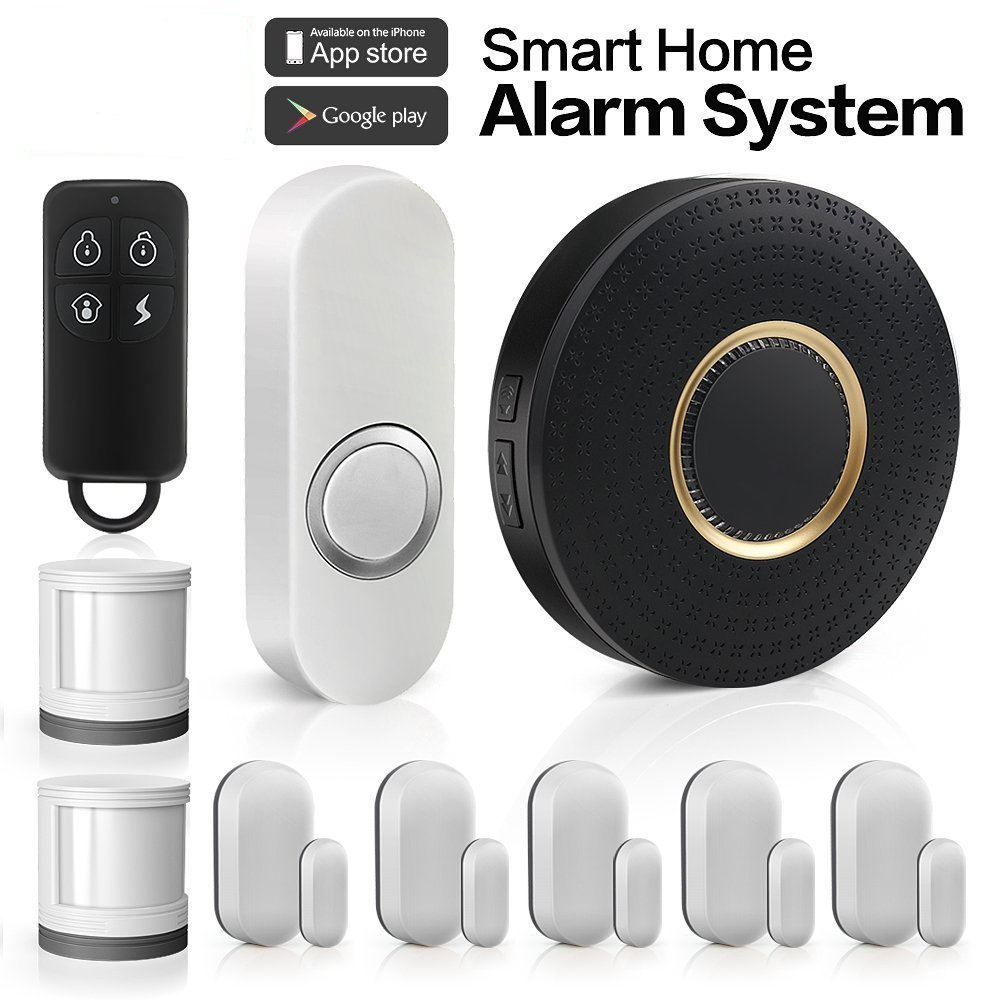 HQTECHFLY Wireless Home Security Alarm System Anti-theft Siren App for Android IOS Smartphone 1 Smart WiFi Hub 5 Contact Sensors 2 Motion Sensors 1 Doorbell ...