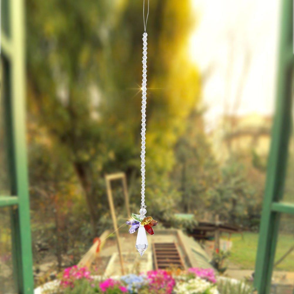 Fdit Pendente Ciondolo Auto Colorato Arcobaleno di Cristallo Specchietto Retrovisore Appeso Accessori prismi Palla per Finestra di casa Lampada lampadario Portachiavi