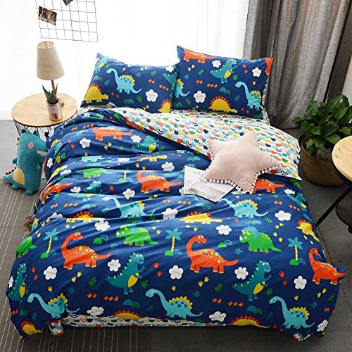 HIGHBUY 100% Cotton Dinosaur Print Kids Duvet Cover Set Full Multi Color Reversible Cartoon Children Boys Bedding Cover Sets 3 Piece Zipper Closure for Queen Bed (Dinosaur Cover)