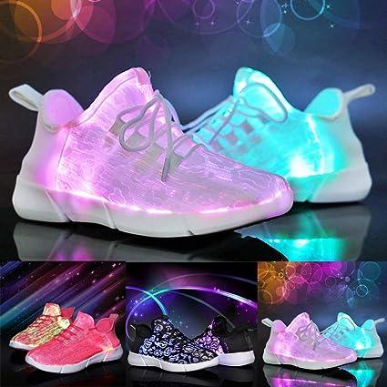 Waniba Chaussures LED en Fibre Optique pour Filles, garçons
