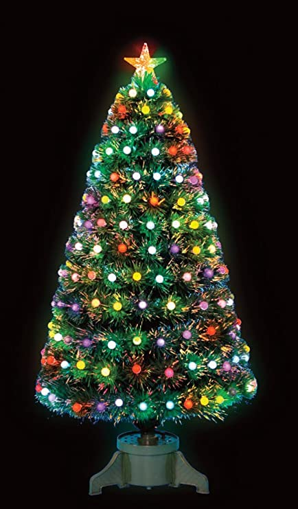 Snowtime 3ft Frosted Bauble Fibre Optic Christmas Tree with 90 LEDs - Snowtime 3ft Frosted Bauble Fibre Optic Christmas Tree With 90 LEDs