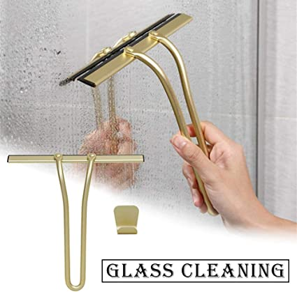Raspador de cristal de ventana Limpiador dorado con gancho Herramienta de limpieza de coche de baño de silicona para ducha: Amazon.es: Instrumentos musicales