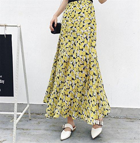 Bohme Plage Imprim Soie Floral Plisse Longue Femme de Jupe Jaune Jupe Sirne Vintage Vacances Mousseline FuweiEncore q6vTw7