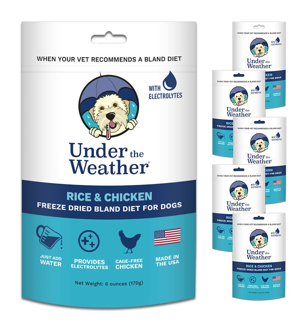 Under the Weather Pets | Rice, Chicken 6 Pack | Easy to Digest Bland Dog Food Diet for Sick Dogs Sensitive Stomachs - Contains Electrolytes - Gluten Free, All Natural, Freeze Dried 100% Human Grade Me by Under the Weather