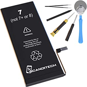 ScandiTech Battery Model iP7 - Compatible with iPhone 7 (not 7+)- Replacement Kit with Tools, Adhesive & Instructions - New Full Capacity, 0 Cycle Battery - Repair Your Phone in 30 min - 1 Year Warr