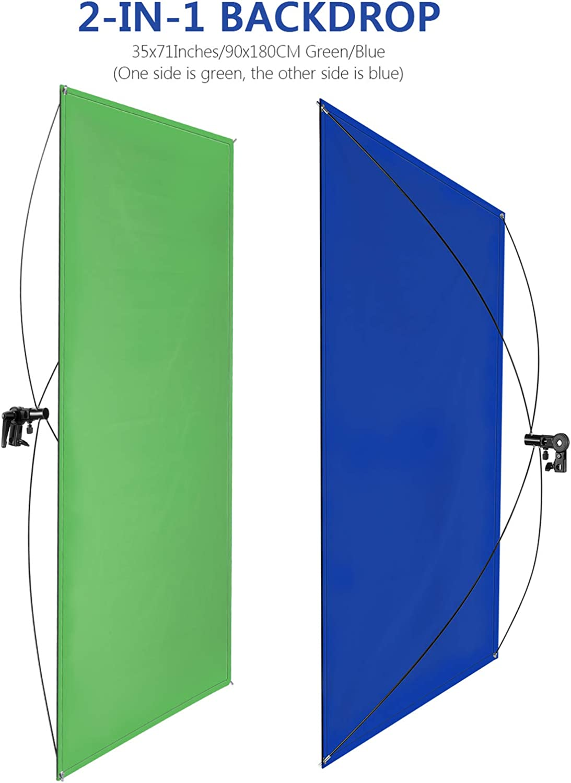 Neewer 90x180cm Pantalla de Fondo Azul//Verde Chromakey 2 en 1 Port/átil con 4 Varillas Flexibles Soporte Bolsa Transporte para Transmisi/ón en Vivo Estudio y Videos TikTok Youtube Soporte No Incluido