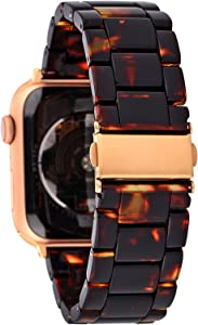 Gsmartive Resin Compatible with Apple Watch band Women Men with Stainless steel Buckle,Lightweight Fashionable Strap Replacement Compatible for iWatch Series 5 4 3 2 1 (Tortoise Tone, 38mm/40mm)