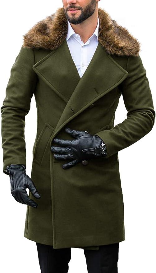 Men/'s Business Outwear Faux Fur Parka Jacket Outdoor Trench Coat Winter Slim Fit