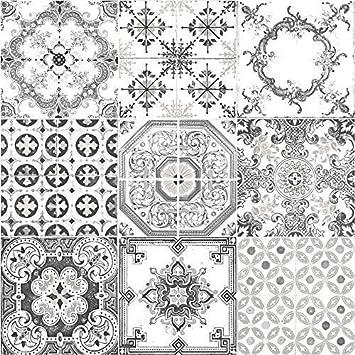 Tapete Auf Fliesen muriva tapete fliesen muster retro floral motiv küche badezimmer