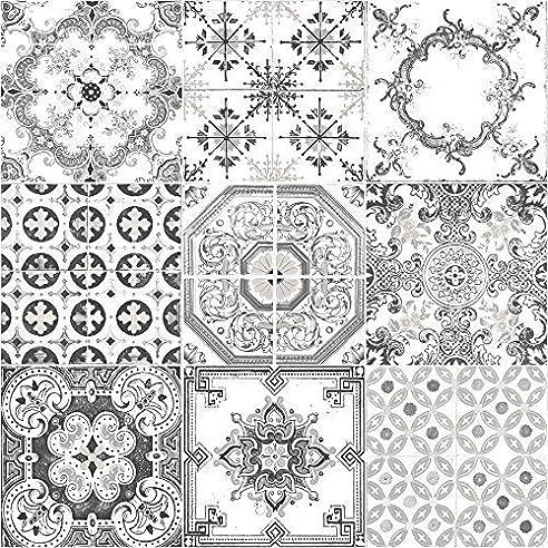 Muriva Tapete Fliesen Muster Retro Floral Motiv Küche Badezimmer Vinyl  Tapete Black J95609