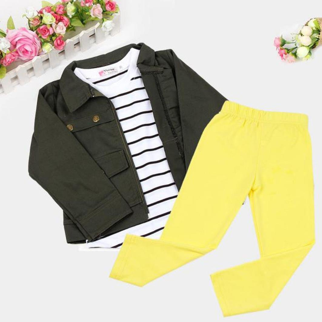 PHOTNO 3 Pieces Suit Outfit For Toddler Girls Long Sleeve T-Shirt Tops+Coat Jackett+Long Pants Clothes Outfits (2-6T) (120 (5T), Army Green) by PHOTNO (Image #5)