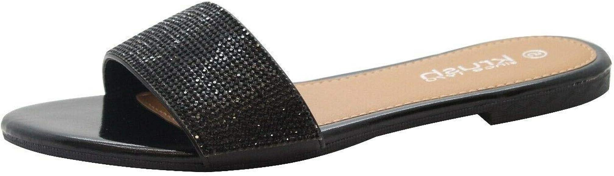 Ladies Womens New Slip On Fur Beach Mule Flat Sliders Sandals Shoes Size 3-8
