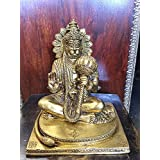 Yoga Gift- Hindu God Hanuman Statue Brass Decor Indian Religious Figurines 7.5""