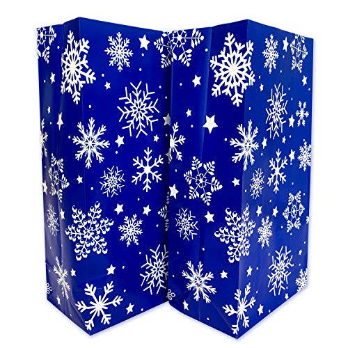 (24Pcs Winter Snowflake Paper Treat Bags Christmas Party Favor Bags Frozen Birthday Party Supplies)