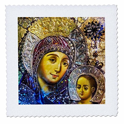 3dRose Danita Delimont - Religion - Mary and Jesus Icon, Church of the Nativity, Bethlehem, Palestine. - 20x20 inch quilt square (qs_276863_8) by 3dRose