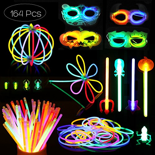 Halloween Glow Sticks, Masks, Bracelets And Party Favors made our list of fun Halloween camping ideas for RV decorations, activities and campsite decorating ideas plus kids and pets will love these camping Halloween costumes and everybody will enjoy these Halloween camping food ideas!