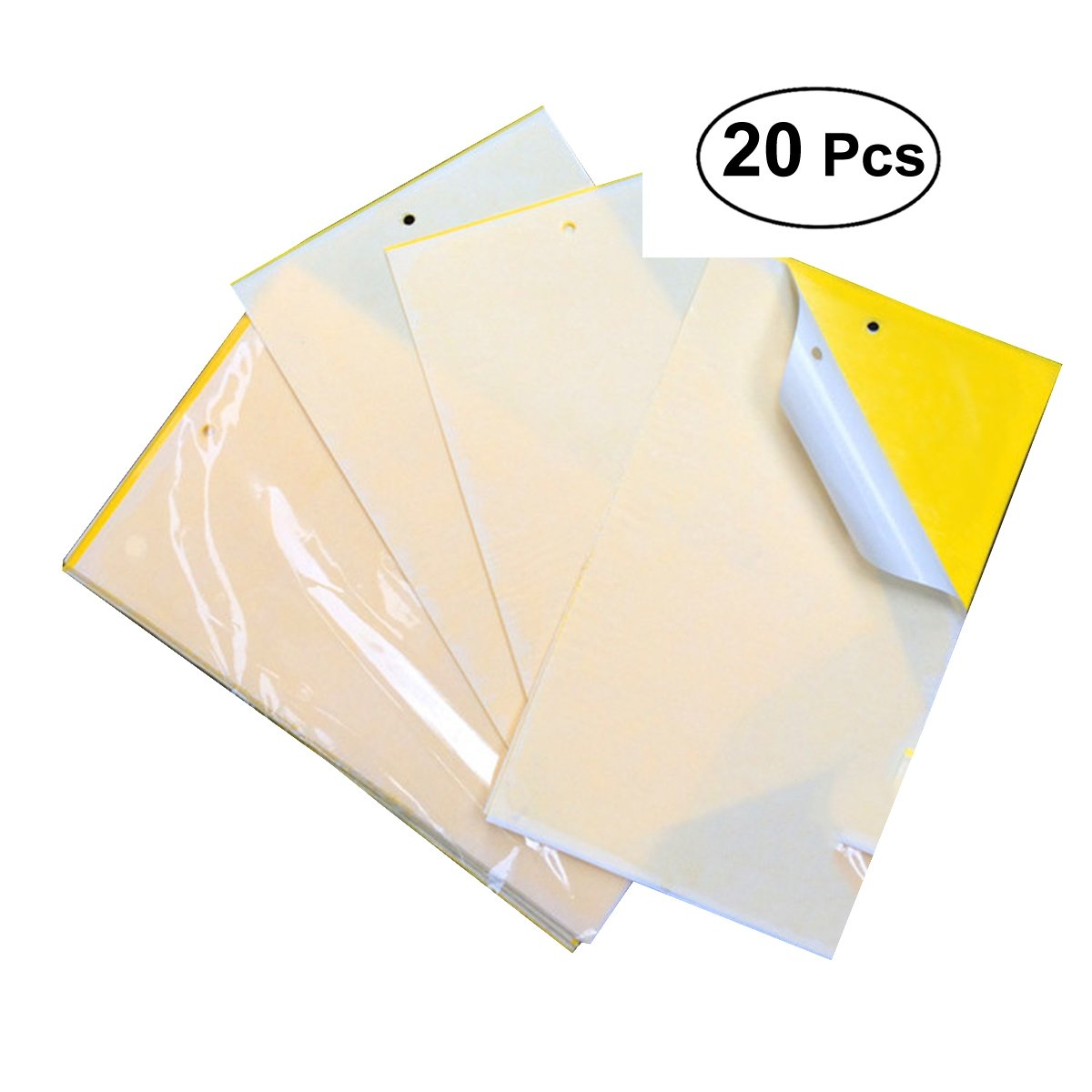 OUNONA 20pcs Dual Sided Yellow Sticky Traps for Plant Insect Like Fungus Gnat,Whitefly,Aphid,Leaf Miner,Other Flying Insectsd,Bugs 25 x 20cm