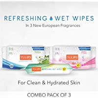 Tulips Refreshing Wet Wipes with 3 Different Fragrance - Pack of 20 Wipes Each (Japanese Cherry, Magnolia & Summer Fresh)