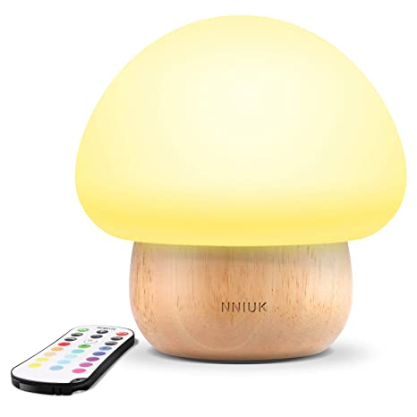 Night Lights For Kids, Nniuk Baby Led Mushroom Night Lamp, Soft Silicone Lampshape, 100 Percents Rubber Wood, 4 Light Modes And 16 Color By Wireless Remote   Uk Plug by Nniuk