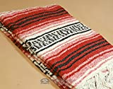 Authentic Mexican Blanket 47''x68'' -Traditional Woven Falsa Blanket for Yoga, Travel, Camping Rustic Southwest Style or Western Decor. (Sonora)