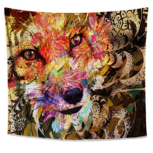 Lucid Eye Studios Sly Fox Tapestry- Orange Animal Wall Art- Floral Fractal Wall Hanging- Nature Home Decor- Camouflage Pattern- Bright Dorm Room Tapestry
