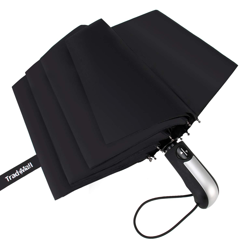 TradMall Travel Umbrella Windproof with 10 Reinforced Fiberglass Ribs 42 Large Canopy Auto Open & Close, Black UM01