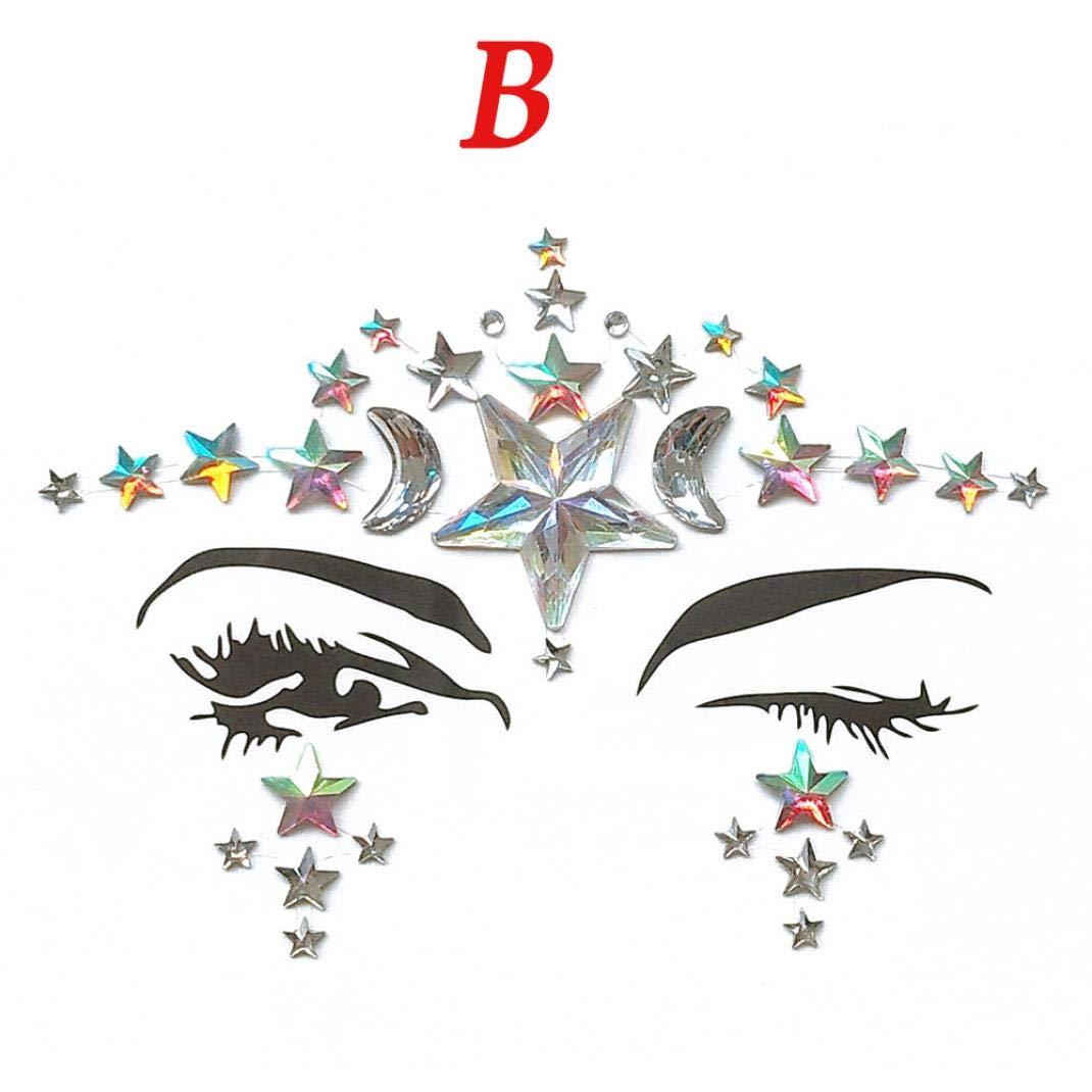 Hunputa Face Gems Adhesive Glitter Jewel Tattoo Wedding Festival Rave Party Body Make Up (B)